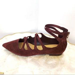 Marc Fisher Burgundy Pointy Leather Suede Shoes